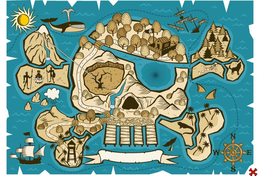 Mapa Del Tesoro Pirata Para Niños.Organizar Una Busqueda Del Tesoro